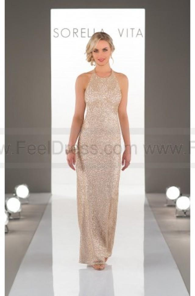 f16f82dcd618 wedding photo - Sorella Vita High-Neck Sequin Bridesmaid Dress Style 8846