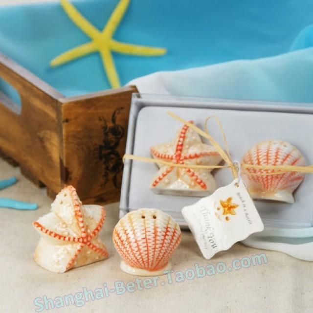 wedding photo - Beter Gifts® beach party shells Salt and Pepper Shakers wedding door gifts BETER-TC001