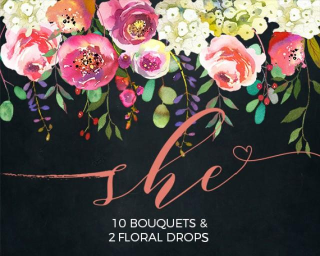 wedding photo - Pink Peach Flowers Peonies Roses Watercolor Clipart White Hydrangea Wedding Clip Art PNG Floral Bouquets Sprays DIY Printable Invitation