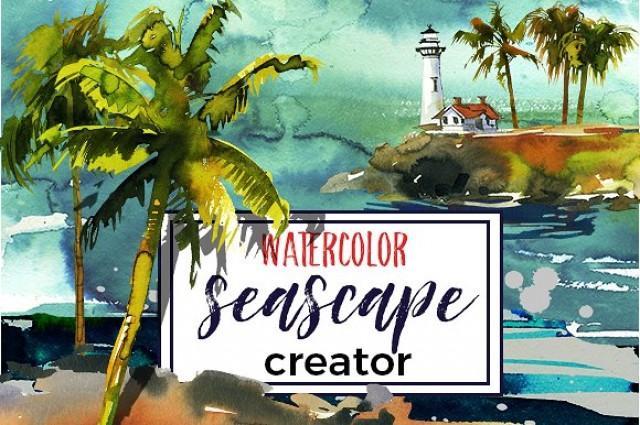 wedding photo - Watercolor Seascape Creator Kit