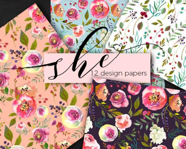 wedding photo - Pastel Floral Digital Paper Watercolor Flower Seamless Pattern Design Background Instant Download Watercolor Roses Peonies Commercial Use