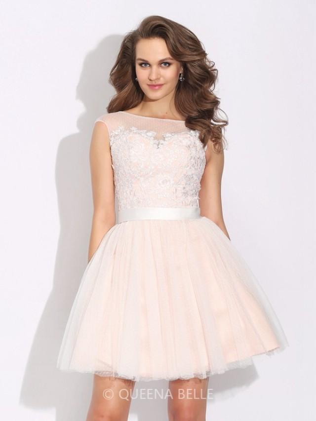 wedding photo - A-Line/Princess Bateau Ruffles Short Sleeves Short/Mini Net Dresses