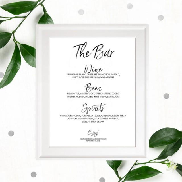 wedding photo - Stylish Hand lettered Printable Wedding Bar Menu-Modern Calligraphy Wedding Drinks Sign-DIY Bar Menu-Handwritten Wedding Bar Sign