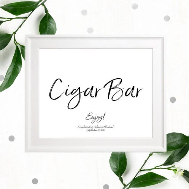 wedding photo - Stylish Hand Lettered Cigar Bar Wedding Sign-Printable Calligraphy Cigars Sign-DIY Handwritten Style Cigar Favors Sign-Cigars Sign