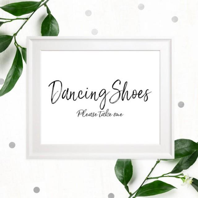 12b2167b81237a wedding photo - Stylish Hand Lettered Dancing Shoes Sign-Printable  Calligraphy Dancing Shoes-DIY