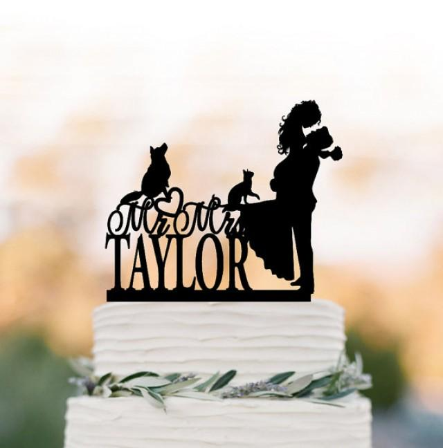 wedding photo - bride and groom Wedding Cake topper with dog and cat, silhouette wedding cake topper. unique personalized wedding cake topper initial