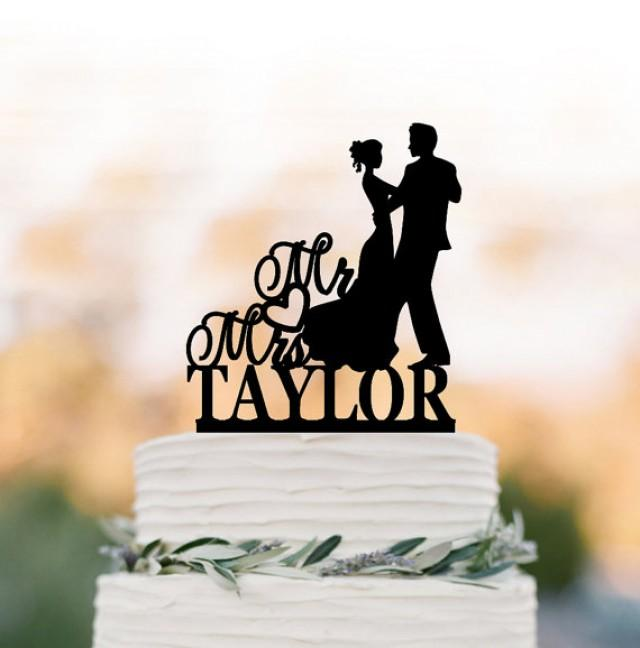 wedding photo - Acrylic Wedding Cake topper mr and mrs, bride and groom silhouette, personalized cake topper name, funny initial cake topper figurine