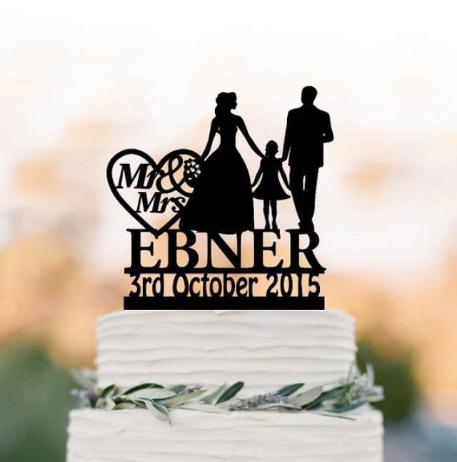 wedding photo - Family Wedding Cake topper with girl, bride and groom silhouette personalized wedding cake toppers initial, funny cake toppers with date