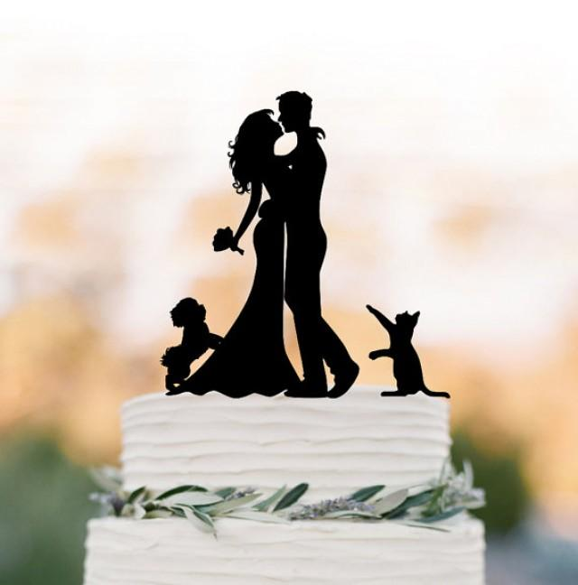 wedding photo - bride and groom Wedding Cake topper with dog, silhouette wedding cake topper. unique wedding cake topper with maltese dog and cat