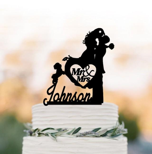 wedding photo - Mr And Mrs Wedding Cake topper with dog, bride and groom with personalized initial cake topper. unique wedding cake topper silhouette