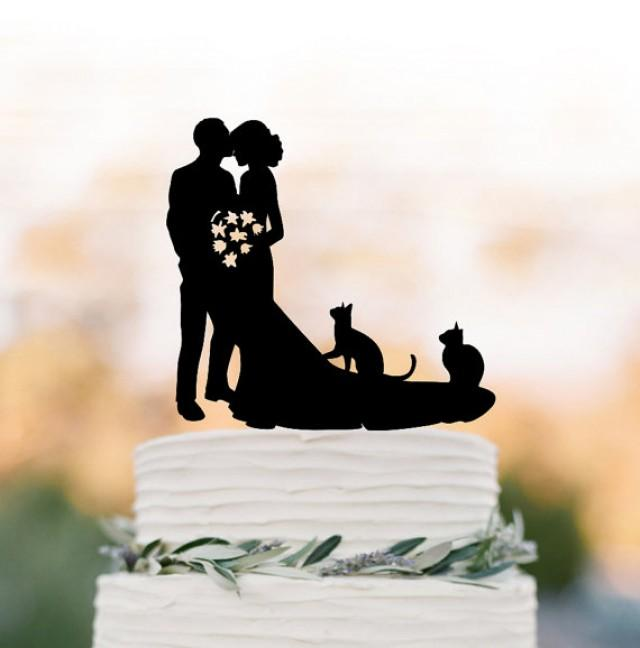 wedding photo - Bride and groom Wedding Cake topperwith two cats, bride and groom wedding cake topper silhouette, cat cake topper acrylic