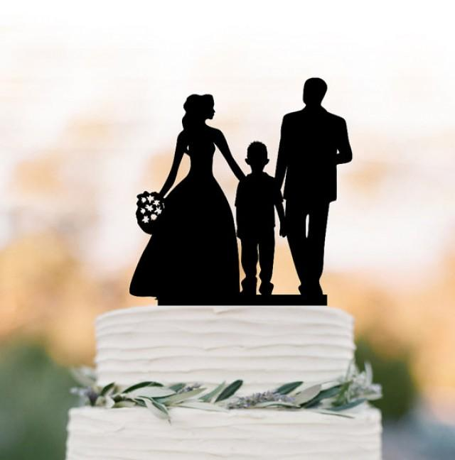 wedding photo - Family Wedding Cake topper with boy, bride and groom silhouette wedding cake toppers, funny wedding cake toppers with kid (child)