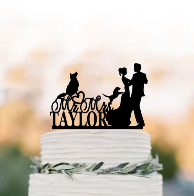 wedding photo - Wedding Cake topper with two dogs. Funny Cake Topper, bride and groom silhouette cake topper, personalized wedding cake top decoration