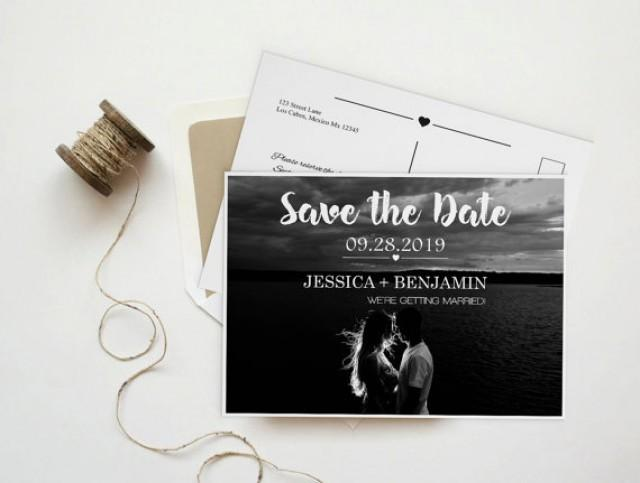 wedding photo - Save The Date Photo Postcard, Brush Calligraphy Script & Heart Line, Printable Photo Save the Date Card, Custom Save the Date, DIY Printable