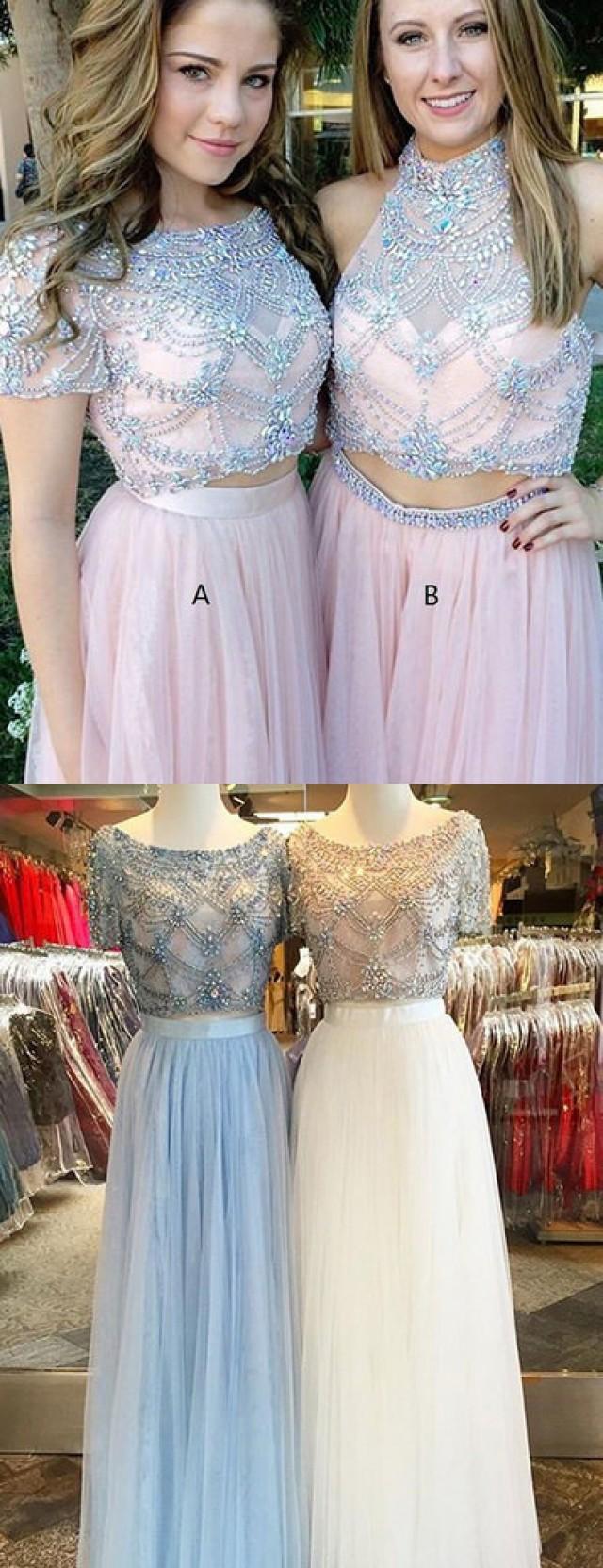 wedding photo - long two piece prom dress