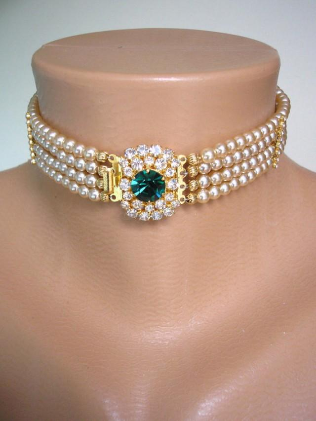 wedding photo - Emerald Bridal Choker, Great Gatsby, Pearl Choker, Bridal Jewelry, Pearl Necklace, Pearl And Emerald Necklace, Art Deco Statement