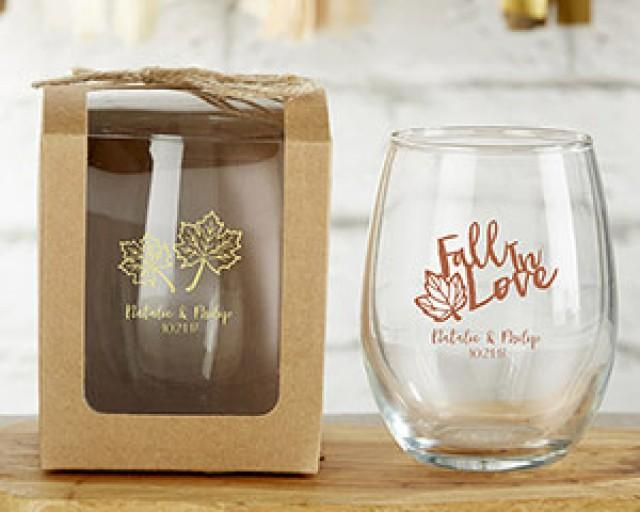 wedding photo - Beter Gifts® Personalized 9 oz. Stemless Wine Glass - Fall