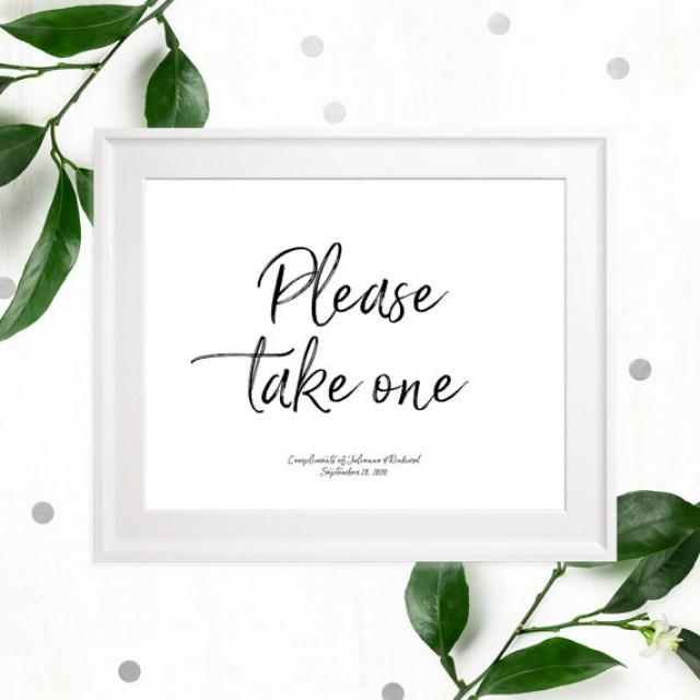 wedding photo - Please take one Stylish Hand Lettered Printable Sign-Calligraphy Favors Sign-DIY Handwritten Style Wedding Reception Fans-Cupcake-Cigars-DIY