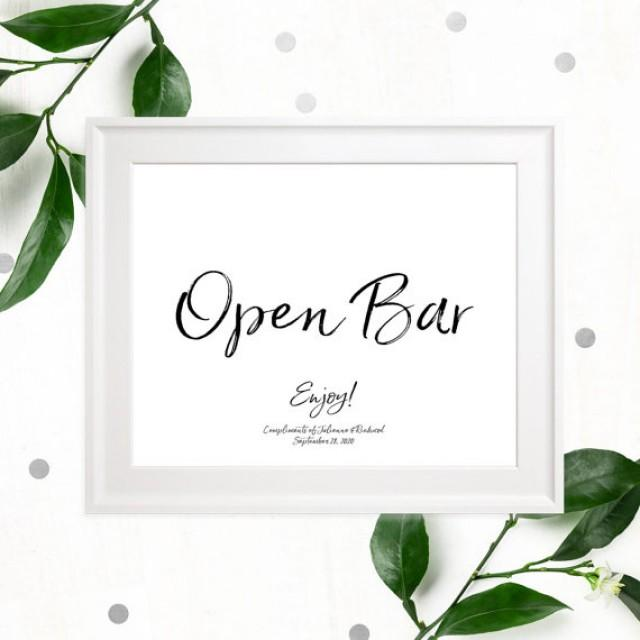wedding photo - Open Bar Stylish Hand Lettered Printable Sign-Calligraphy Open Bar Wedding Sign-DIY Handwritten Style Wedding Reception Drinks Sign-Bar Sign