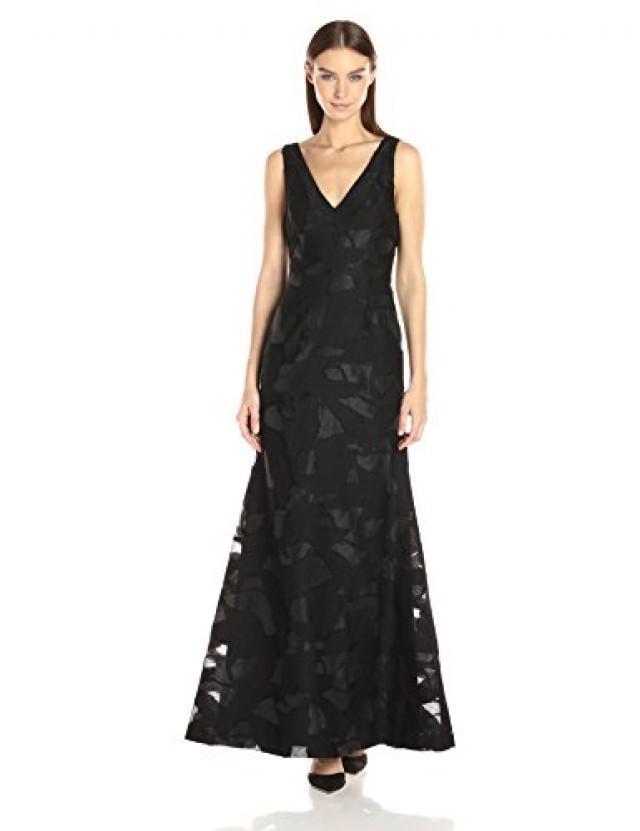 wedding photo - Beter Gifts®  Vera Wang Women's Burnout Organza Gown with Mesh, Black, 2