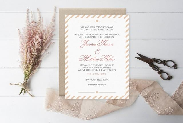 wedding photo - Dark Peach Carnival Stripes Printable Wedding Invitation Template
