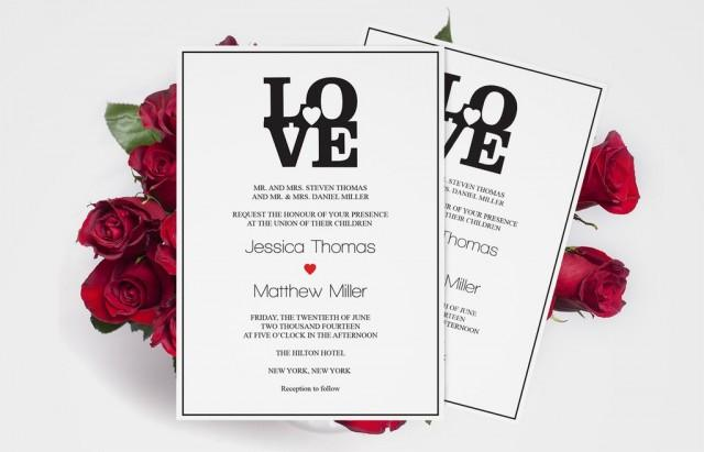 wedding photo - Black LOVE Heart Wedding Invitation Templates