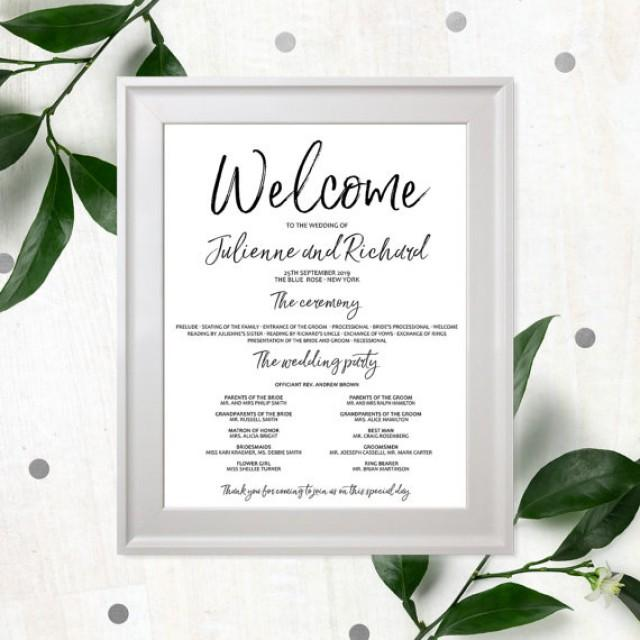 wedding photo - Stylish Hand Lettered Wedding Program Poster-Calligraphy Printable Wedding Program-Wedding Welcome Poster-Navy Blue Program-Personalized