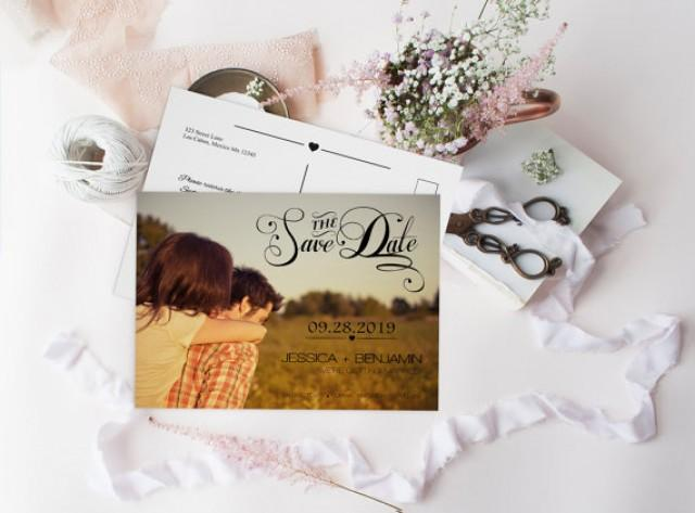 wedding photo - Photo Save the Date Postcard, Calligraphy Script & Heart Line, DIY Printable Photo Save the Date Postcard, Custom Save the Dates Photo Card,