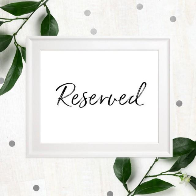 wedding photo - Reserved Printable Stylish Hand Lettered Wedding Sign-Calligraphy Reserved Seats-Reserved for Family-Reserved Event Sign-DIY Printable Sign
