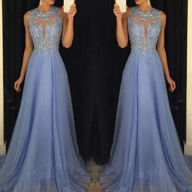 wedding photo - Stunning Floor Length Prom Dress - Crew Neck with Appliques from Dressywomen