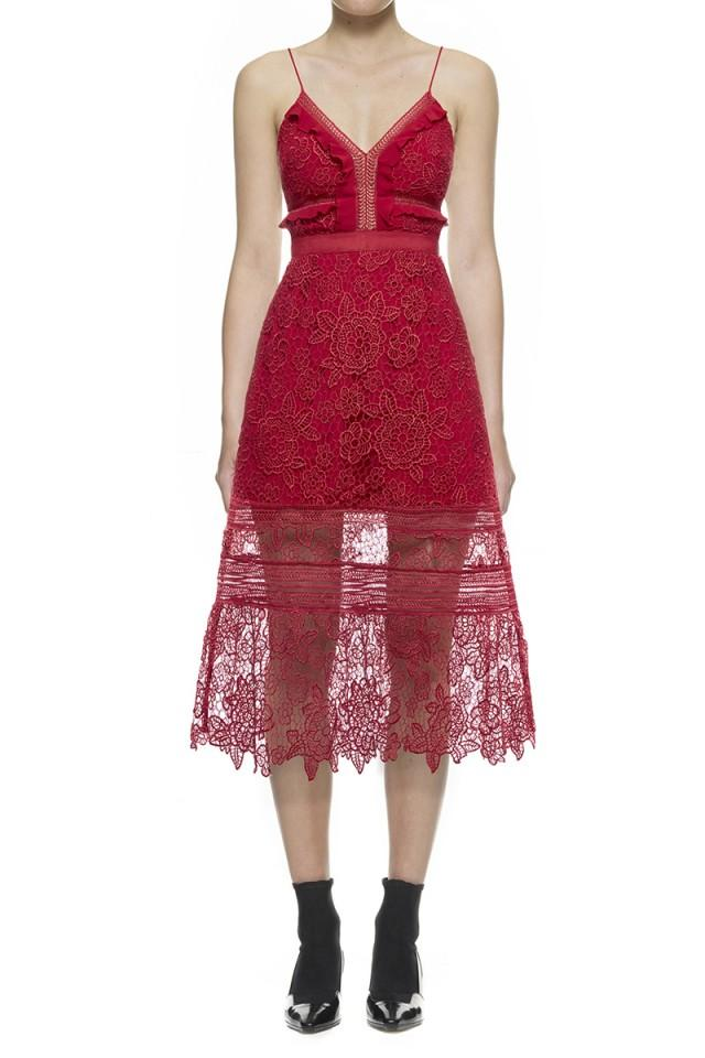 wedding photo - Self-Portrait Floral Blush Midi Dress In Raspberry Red