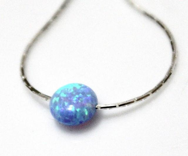 Opal Coin Necklace, Disc necklace, Sterling Silver, Opal Blue Coin Necklace, Tiny Opal Necklace, Ball Necklace, Delicate Opal Necklace