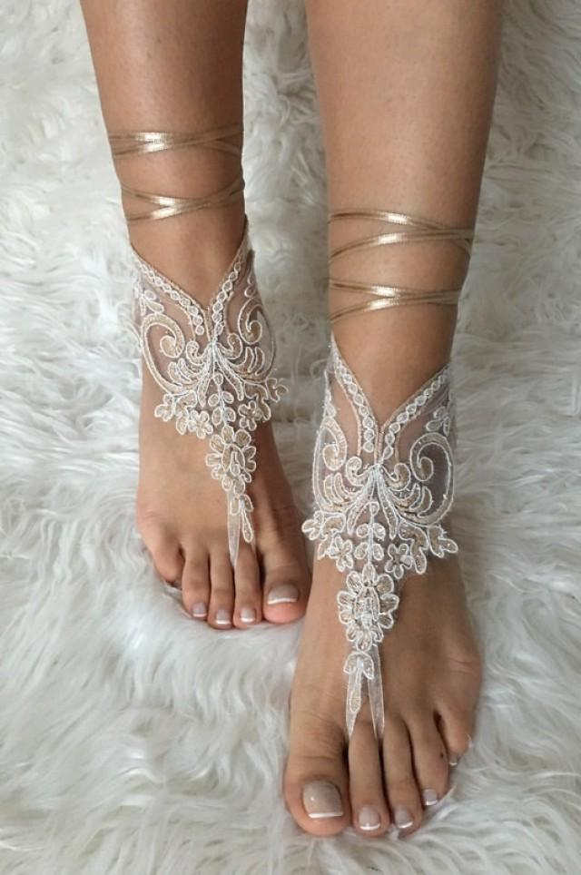 wedding photo - Champagne ivory frame lariat barefoot sandals, french lace sandals, wedding anklet, Beach wedding barefoot sandals, embroidered sandals
