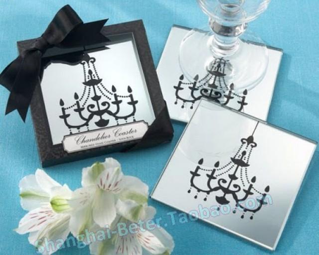 wedding photo - Beter Gifts® #ParisLove Chandelier Mirrored #Coaster #MarriageFavors BETER-BD019