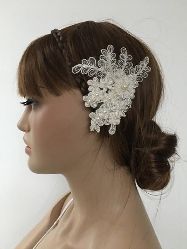 wedding photo - Bridal Lace Hair Comb, Wedding Headpiece, Bridal Lace Fascinator, Ivory pearl Comb, Wedding Hair, Bridal Hair, Accessories