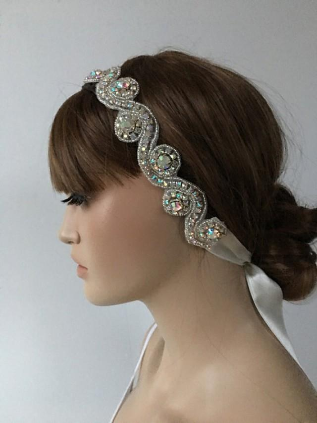 wedding photo - Rhinestone Headband, Wedding Headpiece, Rhinestone Headpiece, Wedding Hair piece, Bridal Hair, Hair Accessories