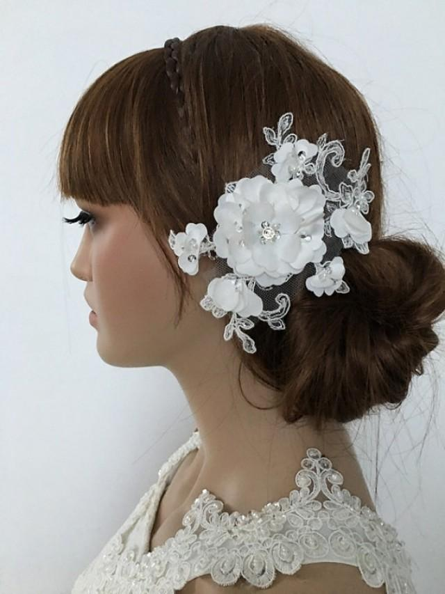 wedding photo - Bridal Lace Hair Comb, ivory 3D Floral Wedding Headpiece, Bridal Fascinator, lace Comb, Lace hair, Wedding Hair, Bridal Hair, Accessories