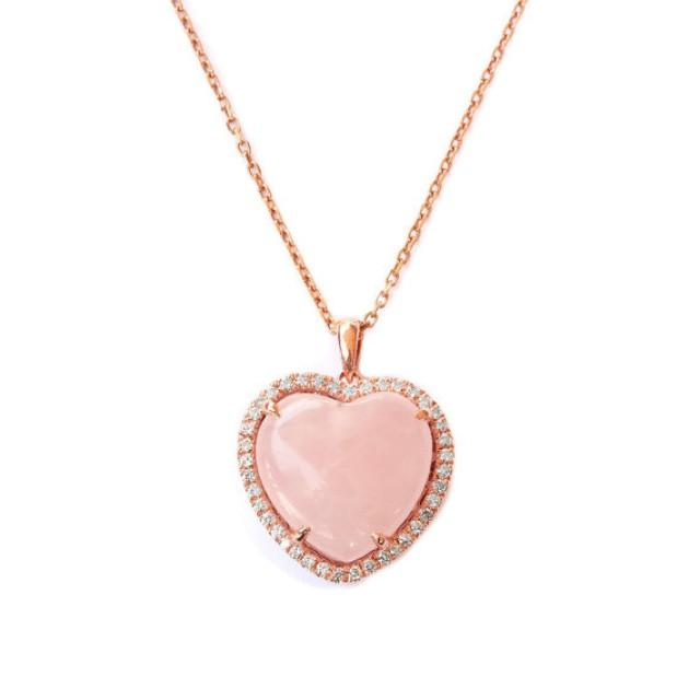 wedding photo - Rose Quarts Heart Shaped Diamond Pendant Necklace, Dainty Love Diamond Pendant Necklace, Gift for her