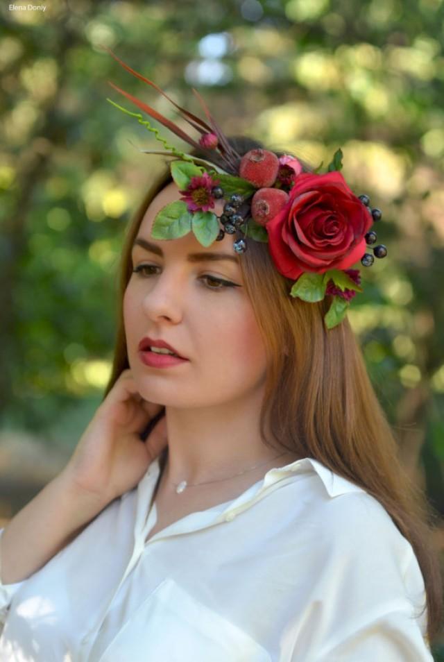 wedding photo - Wedding flower crown Pomegranate floral headband adult Red rose bridal crown Fall flower hair wreath Boho wedding headpiece