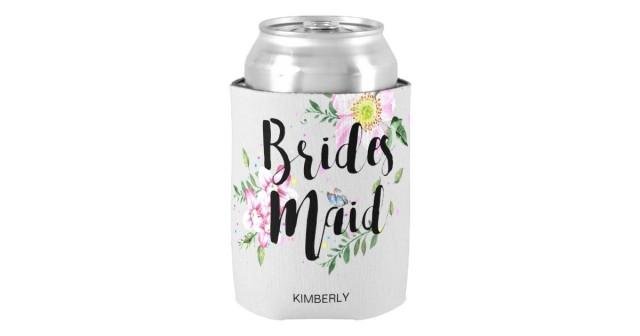 wedding photo - Bridesmaid Floral Watercolor Wedding Can Cooler