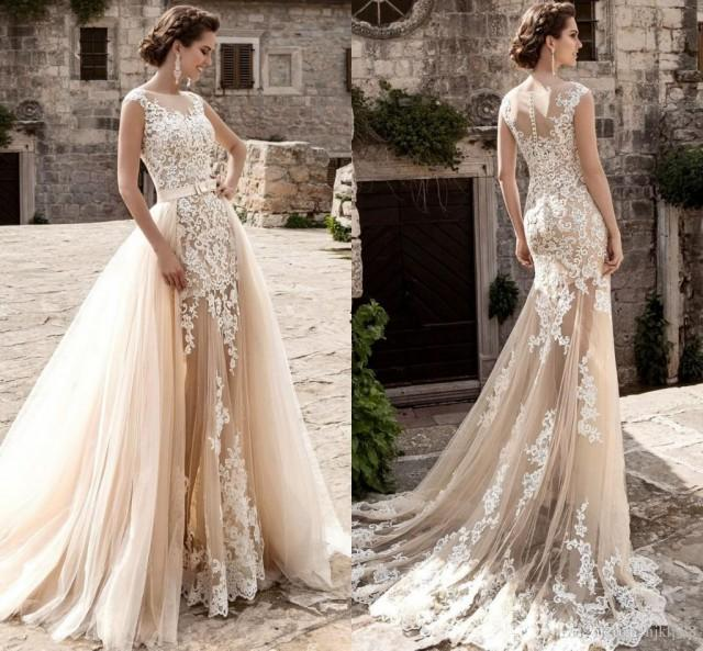 wedding photo - Lussano Vintage Over Skirts Tulle Wedding Dresses A-Line Mermaid See Through Vintage Lace Appliqued Sash Detachable Train Boho Bridal Gowns Lace Luxury Illusion Online with $182.86/Piece on Hjklp88's Store