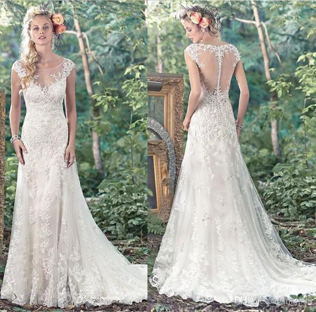 wedding photo - Hot Selling Sexy Sheer Neckline Wedding Dresses Lace Applique Beading Bridal Gown Illusion A-Line Wedding Dress Sheer Back 2017 New Arrival Lace Luxury Illusion Online with $165.72/Piece on Hjklp88's Store