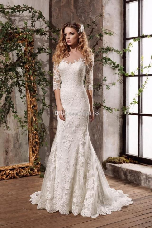 wedding photo - New Lace Mermaid Wedding Dresses Illusion Sleeve Sheer Neck/Back Appliques Bridal Gowns Vestidos De Novia Lace Luxury Illusion Online with $160.0/Piece on Hjklp88's Store