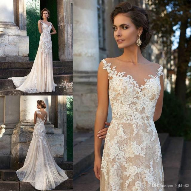 wedding photo - Vintage 2016 Ivory Wedding Dresses Sheer Neck Full Lace Applique Spring Mermaid Sweep Train Milla Nova Cheap Bridal Gowns Custom Lace Luxury Illusion Online with $165.72/Piece on Hjklp88's Store