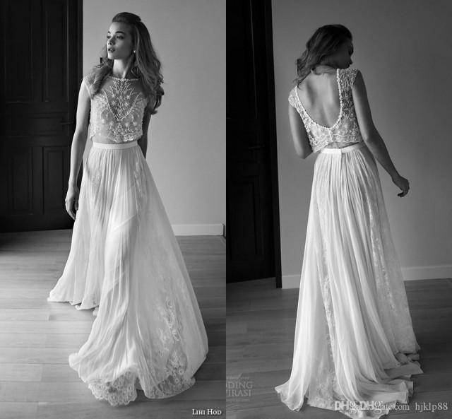 wedding photo - 2016 Lihi Hod Wedding Dresses Two Pieces Sweetheart Sleeveless Low Back Pearls Beading Sequins Lace Chiffon BeachBoho Bohemian Wedding Gowns Lace Luxury Illusion Online with $160.0/Piece on Hjklp88's Store