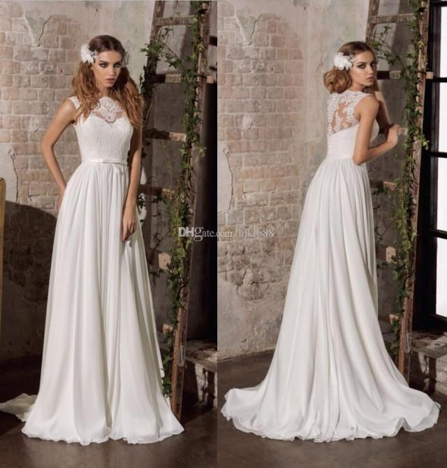 wedding photo - 2017 New Arrival Lace Wedding Dresses Jewel Neck Lace Chiffon Bridal Gowns A-Line Beach Wedding Dress Zipper Lace Luxury Illusion Online with $137.15/Piece on Hjklp88's Store