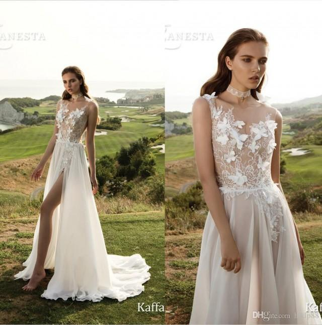 wedding photo - 2017 New Arrival Embroidery Lace Sexy Wedding Dresses Sheer Chiffon Bridal Gowns Backless A-Line Garden Wedding Dress Side Zipper Lace Luxury Illusion Online with $154.29/Piece on Hjklp88's Store