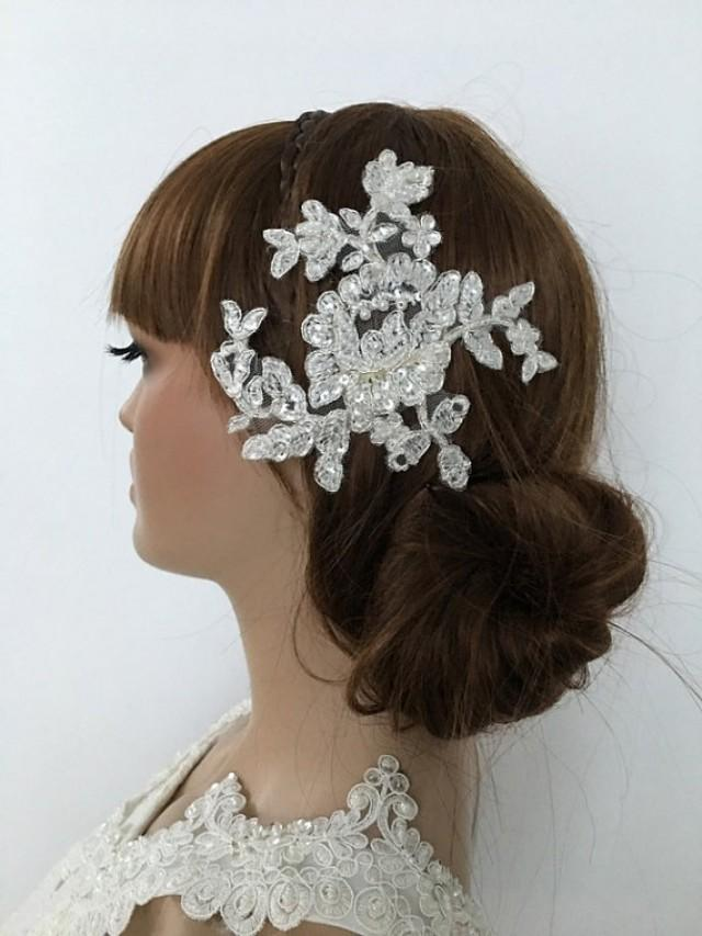 wedding photo - Bridal Lace Hair Comb, ivory lace Wedding Headpiece, Bridal Fascinator, lace Comb, Lace hair, Wedding Hair, Bridal Hair, Accessories