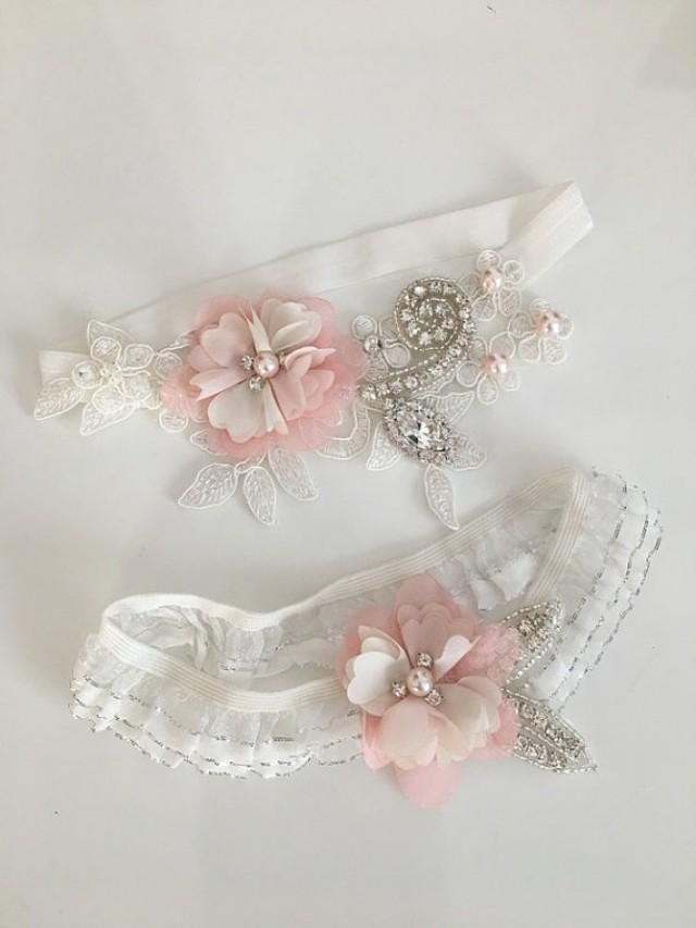 wedding photo - Wedding Garter Set- ivory salmonBridal Garter Set - Keepsake Garter- Toss Garter- Lace Garter- Garter- Wedding Garter- Bridal Garter-