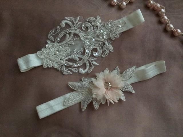 wedding photo - Wedding Garter Set- Bridal Garter Set - Floral garter - Keepsake Garter- Toss Garter- Lace Garter- Garter- Wedding Garter- Bridal Garter-